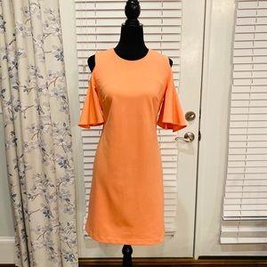 Calvin Klein size 8 tangerine cold shoulder dress